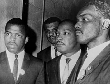 L to R: Congressman John Lewis, Rev. C.T. Vivian, Dr. Martin Luther King Jr., and Dr. El Senzengakulu Zulu